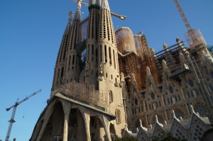 The front of the Sagrada Familia.  The entrance includes a Nativity Scene that shows scenes from Jesus' life.