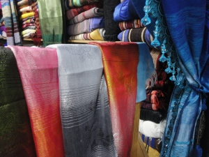 Hand dyed and hand woven cloths such as table cloths, scarves, and curtains are very popular in Morocco.