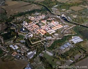 Aerial shot of the town of Terezin.