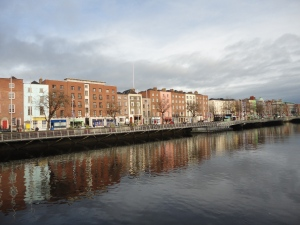 The city of Dublin along with the riverside.