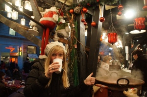 Enjoying some delicious mulled wine.