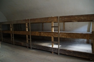 Bunk beds with no mattresses.  These were only suppose to fit 30 people, but many more were crammed in there.  Remember the prisoners only had one blanket for them to keep them warm at night.