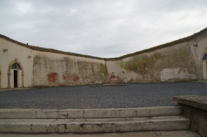 This raised patio area is where 3 women were shot dead when 3 men tried to escape the Small Fortress and were caught.  Also officers forced prisoners to stone other prisoners for breaking rules.