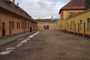 """This is the """"welcoming area"""" of the Small Fortress.  Here Jewish prisoners would wait hours in all types of weather to be registered."""