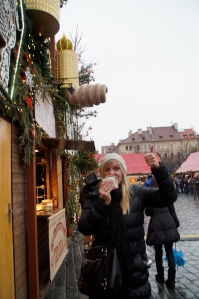 Just getting my daily Trdelnik in.  Yes, that is seriously how you spell it.  It is a little roll of pastery that is rolled in cinnamon, sugar, various nuts, and it is to die for.