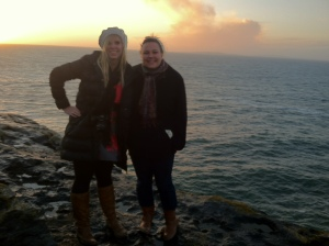Christine and I trying not to freeze by the sea!