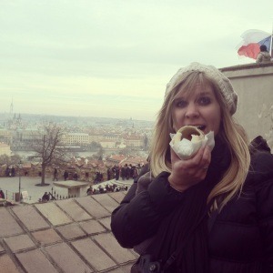 Enjoying some more while enjoying my view of Prague!