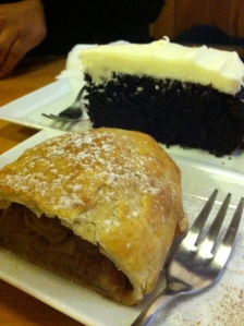 Getting my Apple strudel fix while Emily got her Chocolate cake fix.