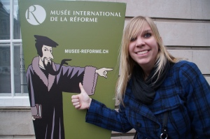 Yep, his beard IS pointing the way to the Reformation museum...sadly we did not visit.