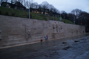 The Reformation Wall located in some park.  It celebrates all the reformers  of Switzerland!