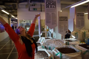loving life.  This room had so much information about  cocoa beans and which ones make what chocolate.  There was even a poster about the HEALTH BENEFITS of CHOCOLATE!