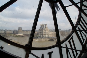 The view from the clock tower in the museum.  Across the river is the Louvre.