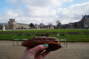 Being all French and eating one of many eclairs  in the gardens.