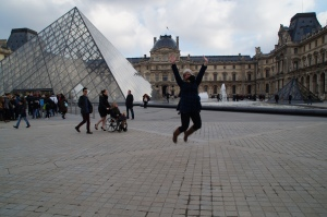 Jumping for joy about eclairs.