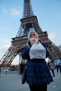 Stuffing my face with the most amazing Nutella crepe ever...next to the TOWER.