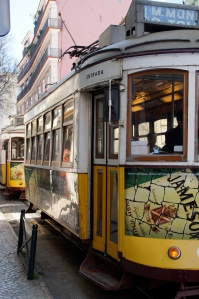 The famous trams in Lisbon.