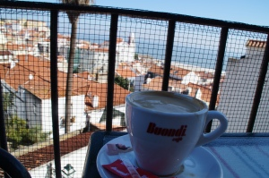 One of many coffees enjoyed with wonderful views.
