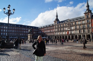 Plaza Mayor.  This is an area where Spaniards meet to have a beer, tapas, coffee, calamari sandwhiches, and just meet people.  For us, it is the greatest spot to people watch.