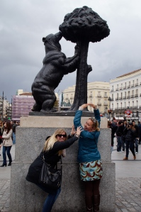 """The famous Madrid bear and the Strawberry tree.  This a symbol from the Middle Ages.  During that time there were many bears in the surrounding forests, so many bears that legend says that the city was named """"Ursaria"""" (Land of Bears)."""