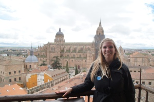 The  Old Cathedral of Salamanca behind me from one of the two towers of La Clerecía.
