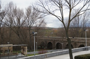 The Roman bridge that led to that the Roman Road:  Vía de la Plata which went all the way up to the North of Spain.
