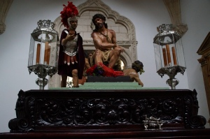 """Inside the Church of the monastery the """"paseos,"""" or  the religious floats were out for the processions that happen each day during Semana Santa."""
