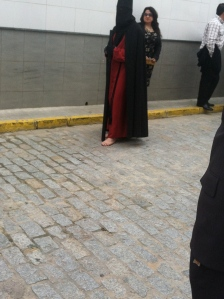 Here is a Nazareno who has pledged to walk barefoot for the week.
