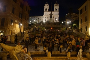 The steps at night.  Just like Spain, these plazas are super popular to have a Botellon. AKA bring your booze to the plaza to drink.