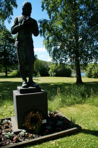 Although Linnaeus is buried in the university of Uppsala's garden he created, there is a tribute to him at the church where his father and brother are buried.