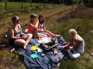 Swedish picnic with Rebecca's sister, Fredricka, and Fredricka's friend Emily, and Matilda.