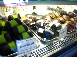 """The green and black pastry is the """"Vaccuum pastry."""""""