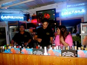 """Making new Spanish friends…AKA making friends with bartenders at a local Chiringuito (A little open bar that does fish frys).  Literally they told us the bar was our """"house,""""  little did they know we would take them seriously."""