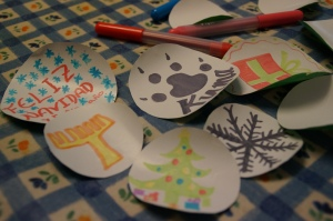 A christmas party isn't complete with homemade christmas ornaments.