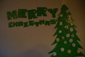 Poor man's christmas tree…wrapping paper from IKEA.