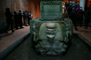 There are two heads of Medusa that are at the bottom of two columns.  There isn't any history written for why they are there.  It is suspected that they were used to support the columns.