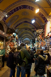 Inside the Grand Bazaar.  Just as colorful as the rest of Istanbul.