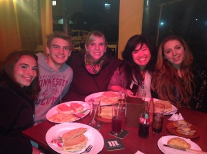 Grabbing some delicious grub with our friend Claudia!