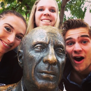 Chilling with Picasso in Plaza de Merced