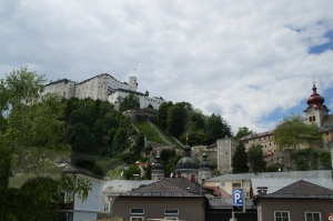 The tower of the Abbey is on the right-side of the photo.  Sadly we couldn't go in, and it was a hike to get up there...