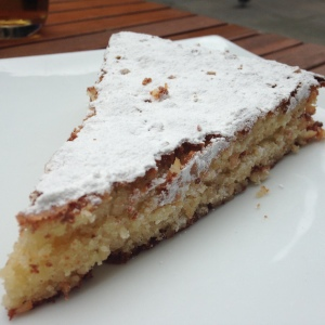 Almond tart cake that was more exciting in theory than in reality.