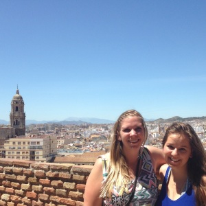 Behind us is the historical city center of Malaga with the cathedral on the left.