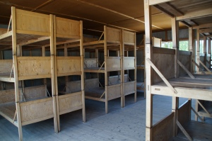 This is one of the barracks that was rebuilt to show what the conditions were like during different periods of the war.  This specific room show how crowded the bunks were towards the end of the war.