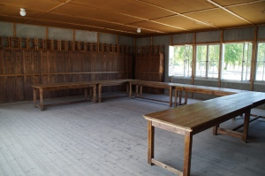 This is another part of the barracks recreated to show that in the beginning there was a living space for prisoners.  However, as more and more prisoners were brought in, these spaces were quickly filled with more bunks.