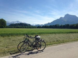 the necessary epic bike with the Swiss Alps in the background