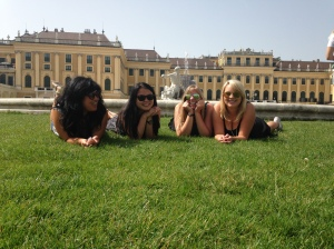 the princesses sunbathing in front of the Palace.