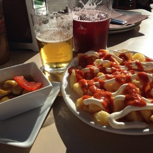 """If you're friends with me on the Facebook, you are probably sick of seeing this dish OVER and OVER again.  However, I will not and cannot stop posting pictures of my absolute favorite dish:  Patatas bravas from my favorite restaurant Matahambre (literally translated to """"kill the hunger"""")."""