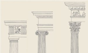 Left to Right:  Doric, Ionic, and Corinthian style columns.