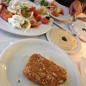 In front we have deep fried feta cheese.  Behind is hummus, and then a traditional Greek salad.  Honestly, we couldn't control ourselves.