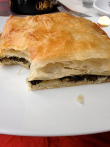 This is spanakopita, which is probably Greek for delicious spinach pastry.
