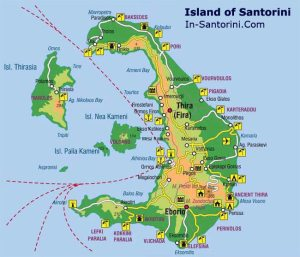 Map of the island of Santorini.  Down in the Southeast corner of the island you see Perissa.  The place to watch the famous sunsets is Oia, in the north part of the island.  Next to the island is an active volcano